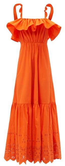 Self-Portrait Flounced Broderie-anglaise Cotton-poplin Dress - Orange