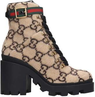 Gucci High Heels Ankle Boots In Beige Wool