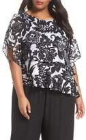 Alex Evenings Print Tiered Blouse