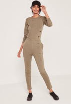 Missguided Loop Back Distressed Romper Khaki