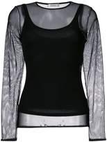 Max Mara round neck sheer blouse