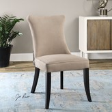The Well Appointed House Set of Two Velvet Armless Chairs in Rich Tan
