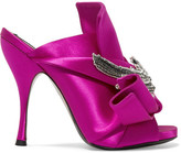 No.21 No. 21 - Embellished Knotted Satin Mules - Fuchsia