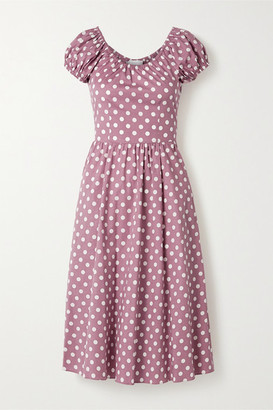 Caroline Constas Mariette Polka-dot Cotton-blend Poplin Dress - Pink