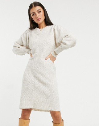 Selected knitted dress with exaggerated sleeves in cream