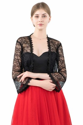 Central Chic Womens Open Front Lace Shrug Bolero Cardigan for Weddings Brides Bridesmaids Evening Dresses (Scarlet Red)