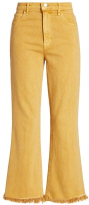 J Brand Julia High-Rise Frayed Hem Crop Flare Jeans