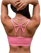 YIANNA Women's Wirefree Padded Sports Bra Cross Back High Impact Strappy Yoga Bra ,YA-BRA139-L
