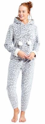 Slumber Hut Ladies Microfleece Pyjamas Grandad Button Collar Womens Loungewear PJs Pajamas - Navy Blue - Size UK 8-10