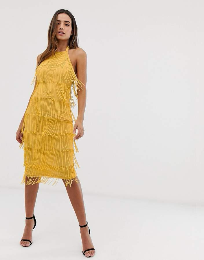 Asos Design DESIGN Embellished fringe halter neck midi dress