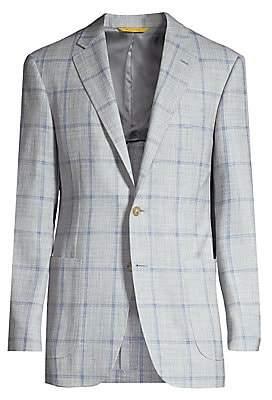 Canali Men's WIndowpane Wool, SIlk & Linen Single-Breasted Jacket