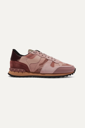 Valentino Garavani Rockrunner Leather And Suede-trimmed Camouflage-print Canvas Sneakers - Baby pink