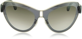 Balenciaga BA0001 01F Grey Acetate & Gold Metal Cat Eye Sunglasses