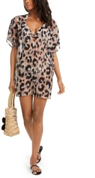 Bar III Leopard-Print Tunic Cover-Up, Created for Macy's Women's Swimsuit