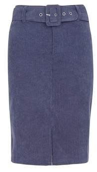 Dorothy Perkins Womens **Vila Navy Corduroy Belted Skirt