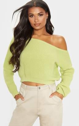 PrettyLittleThing Lime Off The Shoulder Knitted Crop Jumper