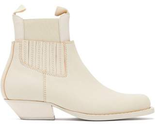 MM6 MAISON MARGIELA Square Toe Western Leather Ankle Boots - Womens - Cream