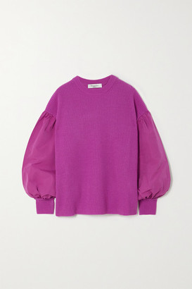 Valentino Paneled Faille And Ribbed Wool And Cashmere-blend Sweater - Pink