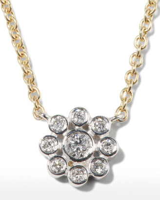 Sydney Evan 14k Two-Tone Gold Diamond Flower Charm Necklace