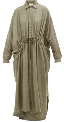Marrakshi Life - Oversized Drawstring Cotton-blend Shirt Dress - Khaki