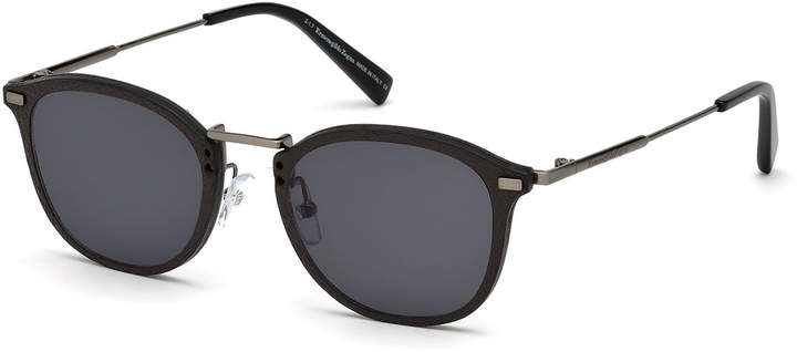 Ermenegildo Zegna Metal & Leather Universal Fit Sunglasses
