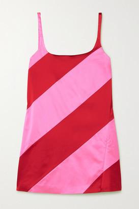 House of Holland Paneled Satin Mini Dress - Pink