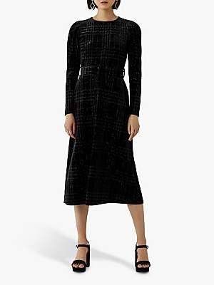 Warehouse Glitter Velvet Midi Dress, Black