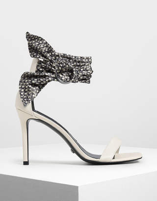 Charles & Keith Snake Print Leather Ankle-Tie Heels