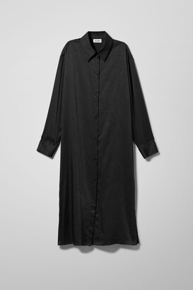 Weekday Parisa Satin Shirt Dress - Black
