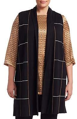 Marina Rinaldi Marina Rinaldi, Plus Size Women's Miocene Wool-Blend Jacquard Long Vest
