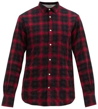Officine Generale Lipp Checked Cotton Blend Shirt - Mens - Black Red