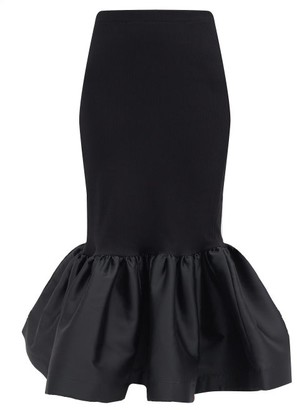 Marques Almeida Fishtail-hem Ribbed Cotton-blend Skirt - Black