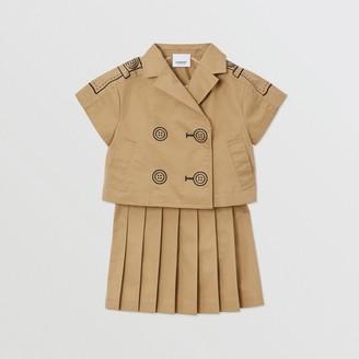 Burberry Childrens Trompe L'Oeil Cotton Trench Dress Two-piece Set