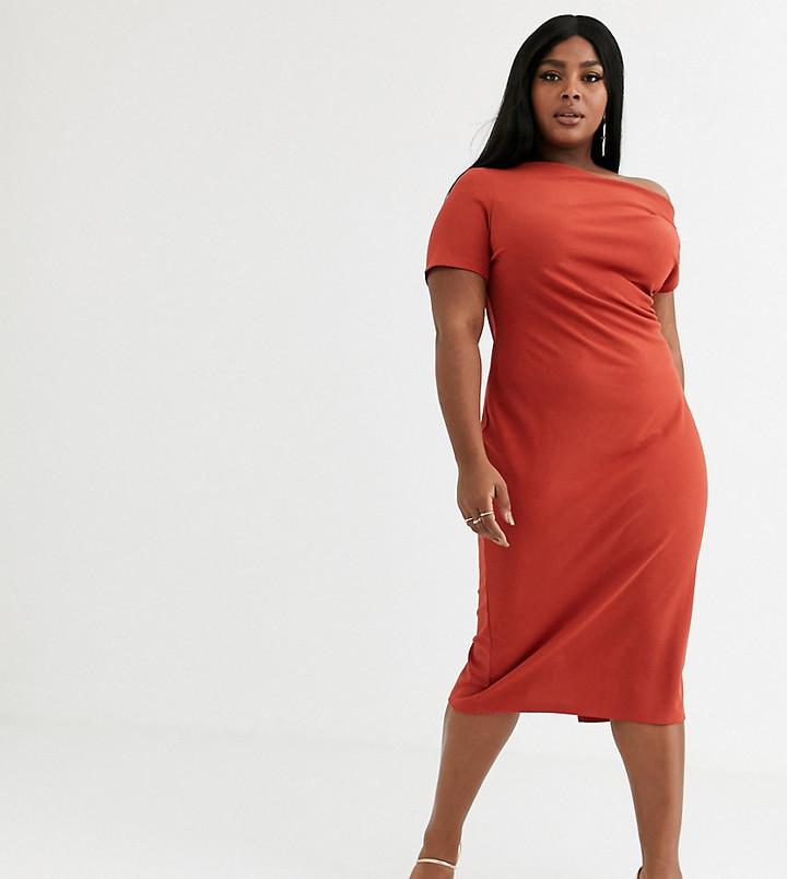 ASOS DESIGN Curve off shoulder textured midi dress