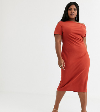 ASOS DESIGN Curve off shoulder textured midi dress