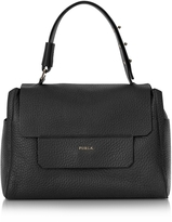 Furla Onyx Black Leather Capriccio Medium Top Handle Bag