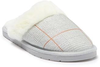 Kensie Glitter Plaid Faux Fur Slipper