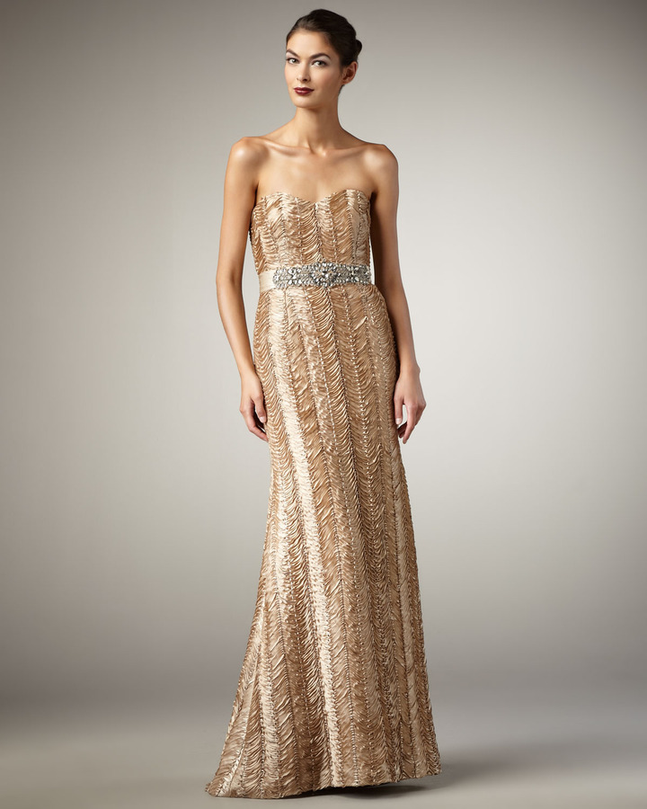 Badgley Mischka Strapless Ribbon Belted Gown