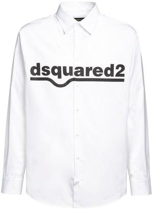 DSQUARED2 Logo Print Cotton Poplin Shirt