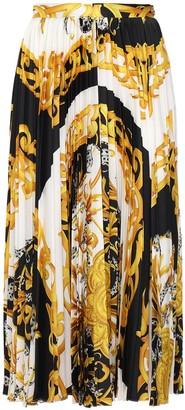 Versace Pleated Twill Midi Skirt