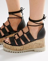 Asos TOUCHE Lace Up Wedge Sandals