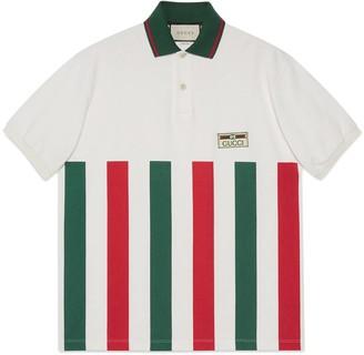 Gucci Web striped oversize polo