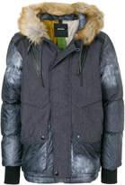 Diesel panelled fur hooded jacket