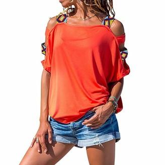 Toamen Women Toamen Summer T Shirt Women's Sexy Off Shoulder Short Sleeve Hollow Out Tops Casual Loose Tunic Blouse Shirts(Orange M)