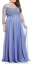 Terani Couture Plus Beaded Lace Chiffon Gown