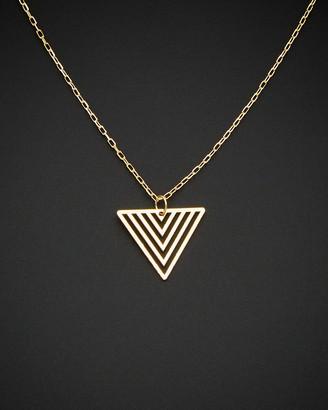 Italian Gold 14K Geometric Triangle Adjustable Length Necklace