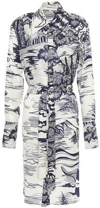 Victoria Victoria Beckham Belted Printed Twill Shirt Dress