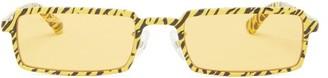 Balenciaga Rectangular Tiger-print Metal Sunglasses - Yellow Multi