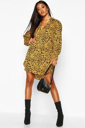 boohoo Leopard Print Oversized Dipped Hem Shirt Dress