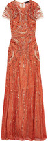 Jenny Packham Embellished Leavers Lace Gown - Brick